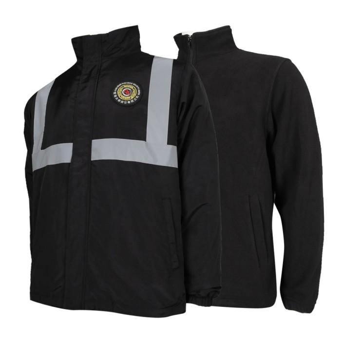 SE060 訂造黑色保安風褸 兩件套 保安 護衛 螢光帶 香港 保安制服製衣廠