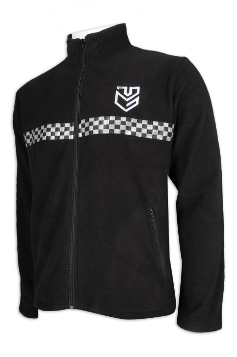 SE061 訂做黑色保安制服 搖粒絨 黑白 保安織帶 前後織帶 設計 保安制服供應商