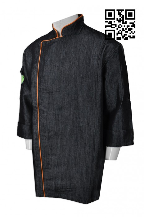 KI090  個人設計廚師制服  來樣訂造廚師制服 訂購牛仔廚師服  廚師服製衣廠