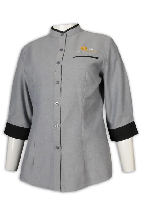 KI106 訂做七分袖女裝廚師制服 65%棉 35%滌 CVC牛津紡 新加坡 廚師制服生產商