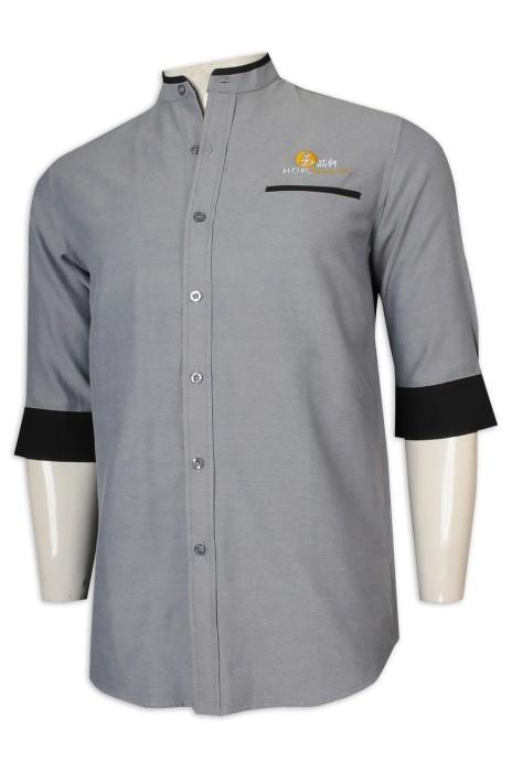 KI107 設計男裝中袖廚師制服 撞色袖65%棉 35%滌 CVC牛津紡 新加坡 廚師制服製造商