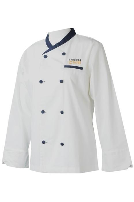 KI111  製造女廚師制服   個人設計長袖撞色領 撞色鈕雙排繡花LOGO廚師制服  主題公園  西式餐廳  廚師制服供應商   合身廚師大衣    烹飪制服