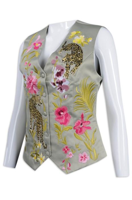 HL016 設計女裝繡花馬甲制服 馬甲背心 100%滌 香港 酒店制服製衣廠