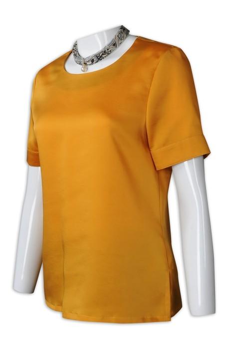 HL019 訂購女裝酒店制服  設計短袖酒店制服  接待處制服 色丁布 酒店制服供應商