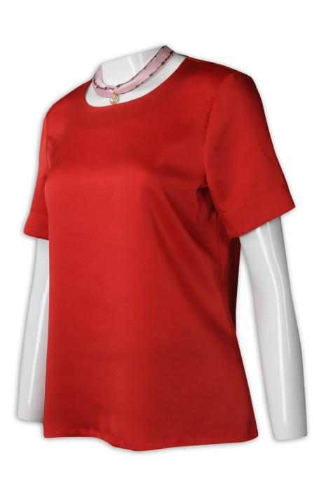 HL023 製作紅色酒店大堂員工制服 來樣訂造酒店制服 接待員制服 色丁布 酒店制服製衣廠