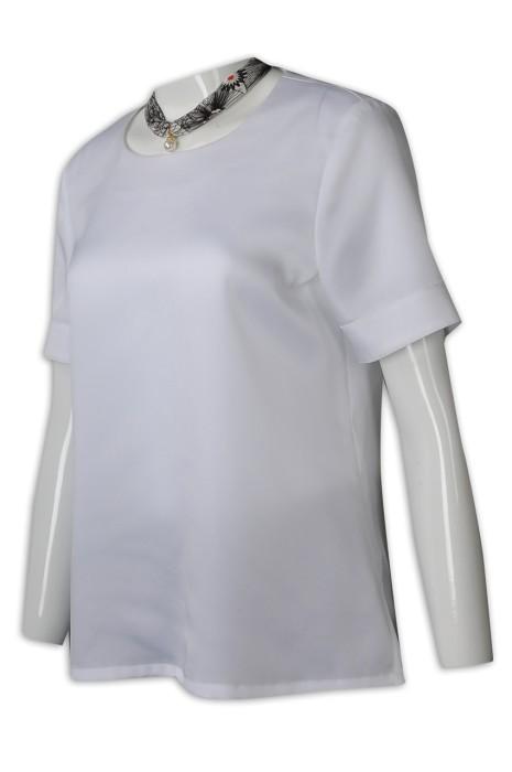 HL025 訂購白色酒店大堂制服 設計短袖員工制服 接待員制服 色丁布 酒店制服製造商