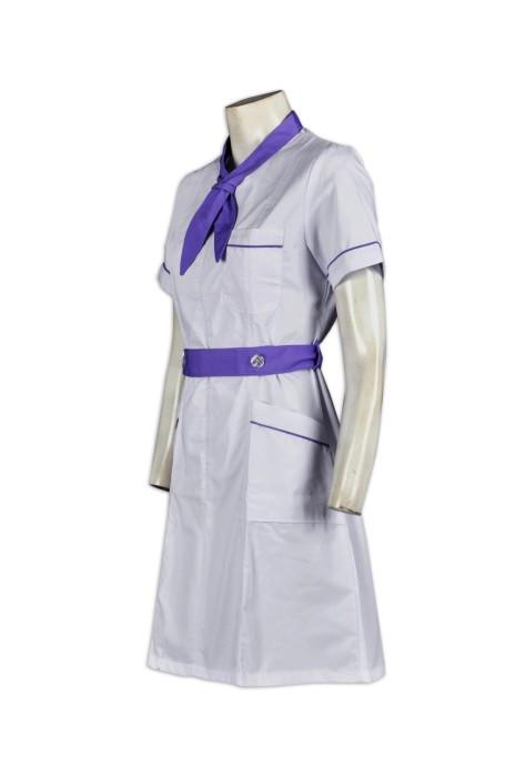 NU018訂造領帶款领護士服  自製醫院制服  訂購員工診所制服  訂做醫院制服生產商HK