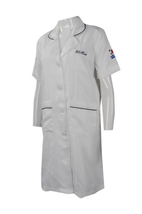 NU047 度身訂製短袖醫生袍 團體訂購短袖實驗袍 韓國化妝品 制服 設計實驗長袍製造商