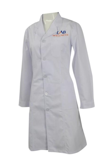 NU049 來樣訂做診所制服款式 印製長袖醫生袍 實驗袍 藥劑師袍 耐高溫 耐洗水 訂造醫療診所制服批發商