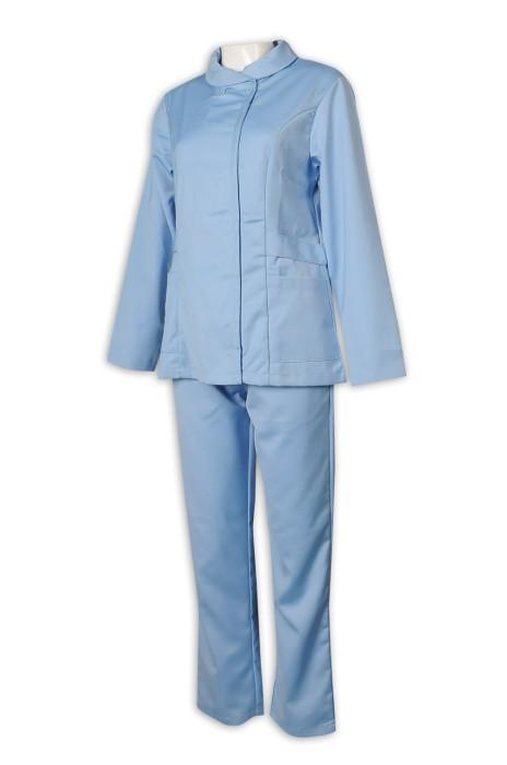 NU057 度身訂造護士制服 設計護士套裝 牙科護士 中山領 高領 鈕扣款 大圓領 反領 護士制服hk專營