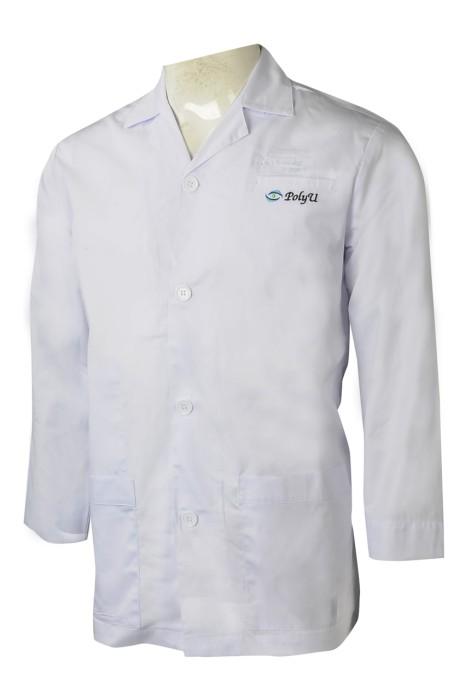 NU058  訂做淨色醫生袍   製作診所上衣  訂做醫院制服生產商  65%滌  35%棉   教育機構 實習生  白色