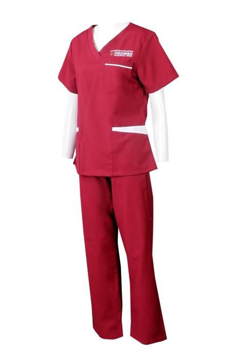 NU059 訂製短袖套裝護士服 設計V領護士服 抽繩褲腰 紅色套裝護士服 護士服專門店 澳門   澳門循道衛理