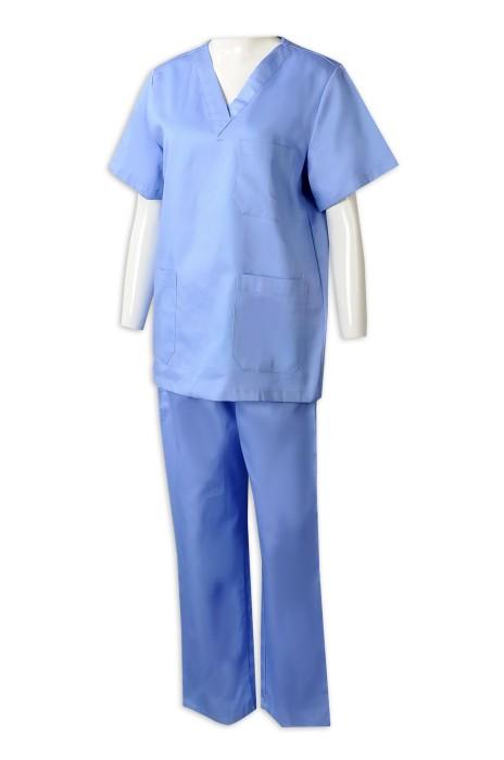 NU060 訂做女裝護士製服套裝  醫院 診所護士人員工作制服  診所制服批發商  V領 抽繩腰頭
