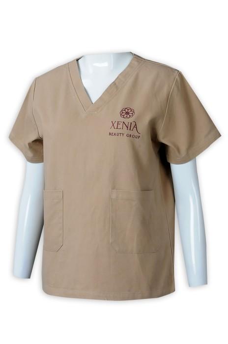 NU061  大量訂做短袖V領診所制服  自訂繡花寵物醫院診所制服  診所制服供應商