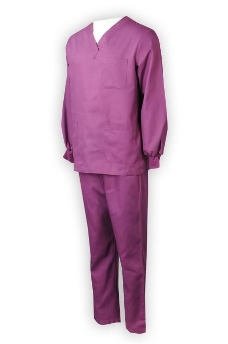 NU062  訂做男裝護士制服套裝   訂購團體男士護士制服套裝  V領  長袖
