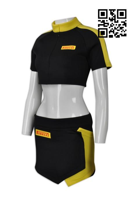 BG025 設計露腰賽車女郎服  訂購時尚個性賽車女郎服 賽車女郎套裝 SHOW GIRLS 制服 來樣訂造賽車女郎制服  車模 賽車女郎制服中心 賽車手