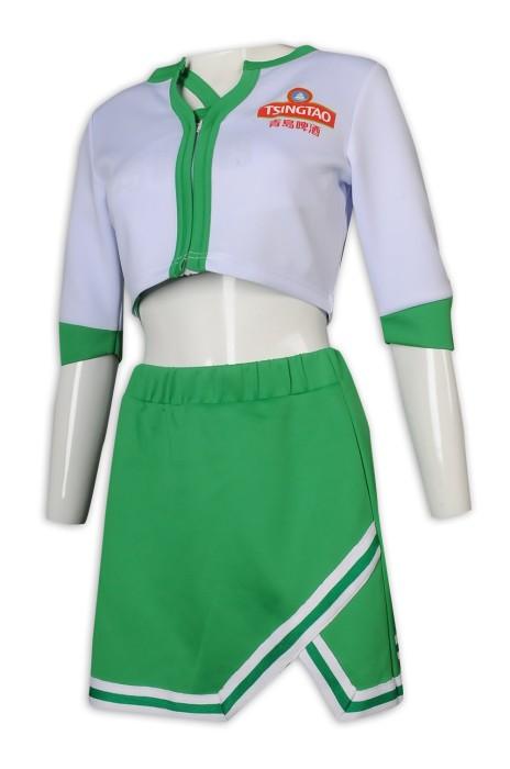 BG032 來樣訂做啤酒女郎款式 青島啤酒 短裙 背心三件套 啦啦隊套裝 健康拉架布   啤酒女郎制服生產商