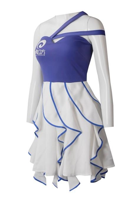 BG034  個人設計吊帶背心斜肩抹胸連身裙啤酒女郎制服  訂製側開拉鏈  藍色裙邊啤酒女郎制服  啤酒女郎制服中心  經編雙面布
