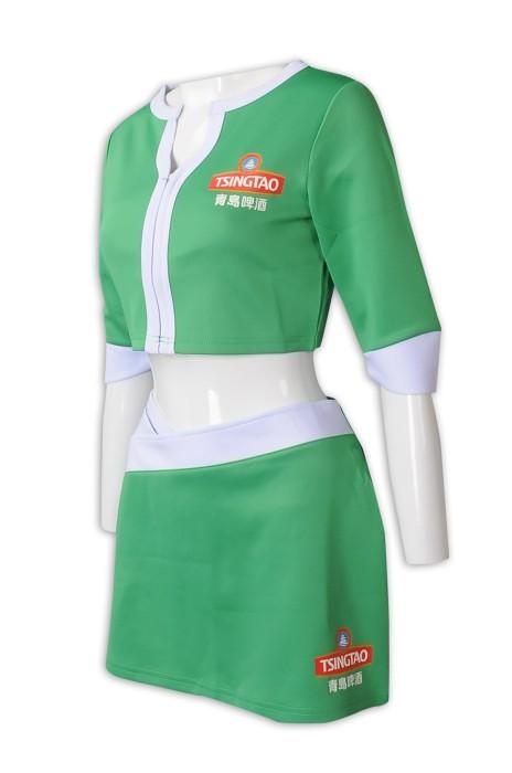 BG035  來樣訂做啤酒女郎款式  青島啤酒 短裙 短袖兩件套 啦啦隊套裝 健康拉架布 啤酒女郎制服生產商  拍片用   道具衫