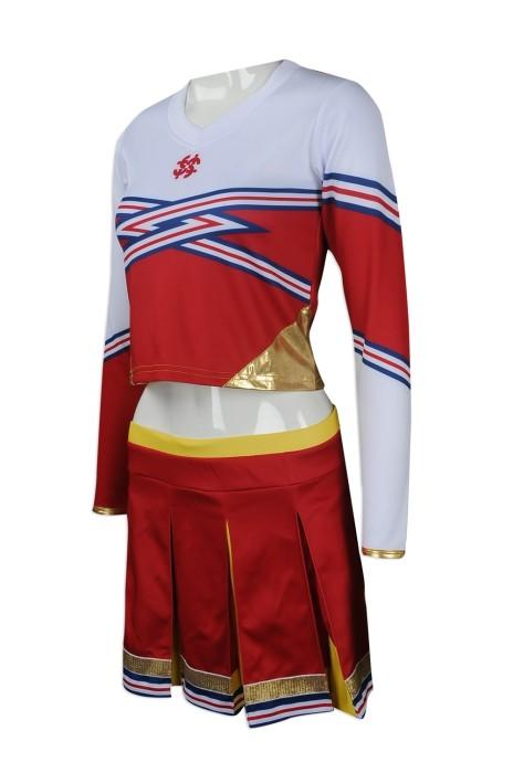 CH168 大量訂製長袖女裝啦啦隊服 設計長袖套裝百褶裙啦啦隊服款 女款 燙金 露臍款 啦啦隊服製造商