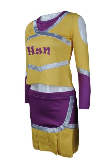 CH171 來樣訂做長袖套裝啦啦隊服 自製啦啦隊服款式 設計露臍 女款 印銀 效果 啦啦隊服生產商