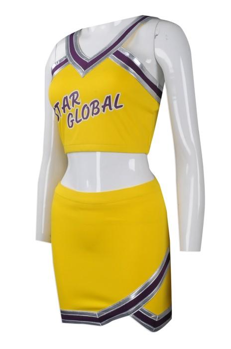 CH175 大量訂做V領啦啦隊服套裝 團體訂購啦啦隊服 設計V領吊帶款啦啦隊服供應商 女款