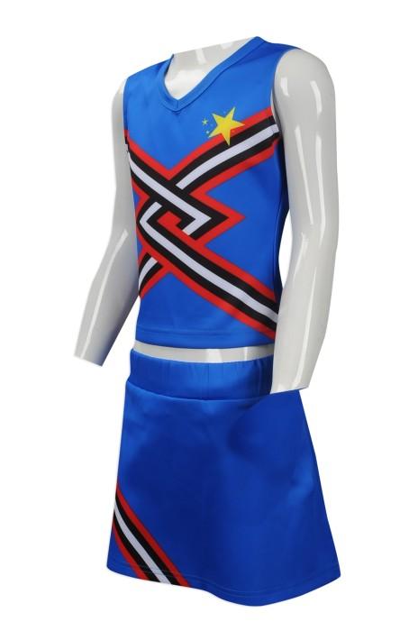 CH178 團體訂購女裝啦啦隊服 大量訂做啦啦隊服款式 設計背心 短裙 童款 套裝啦啦隊服製衣廠