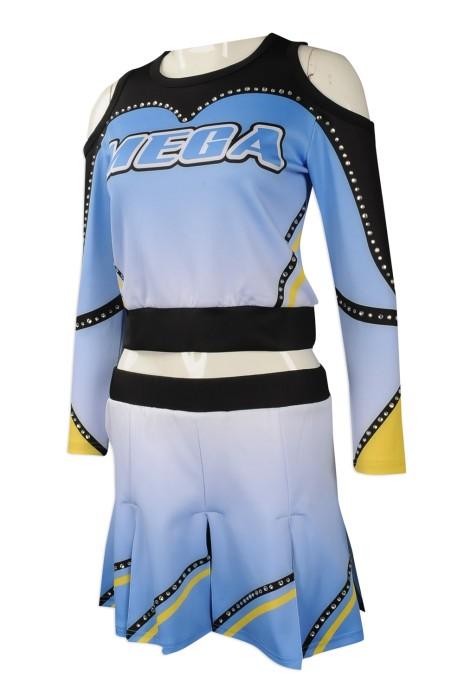 CH185 專業訂造啦啦隊服 設計露肩 燙金款啦啦隊服 女款 訂造啦啦隊服批發商