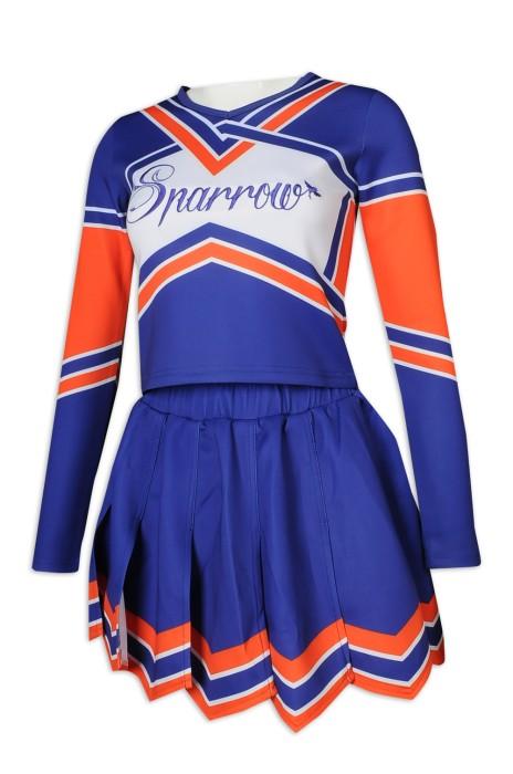 CH197 大量訂做長袖啦啦隊服套裝 撞色女裝套裝 百褶裙 健康拉架布 啦啦隊服供應商