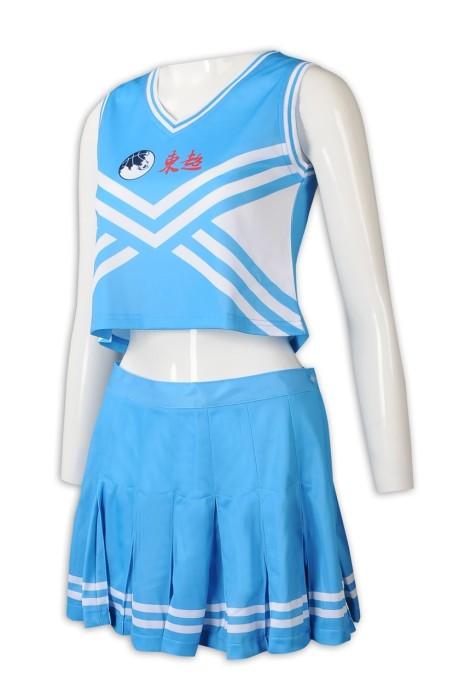 CH201 大量訂製無袖露腰套裝裙啦啦隊服 時尚啦啦隊服 啦啦隊服專門店 藍色