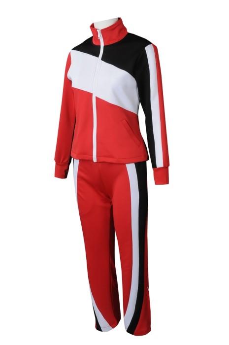 CH204 訂製女裝熱身啦啦隊服 設計拼接套裝啦啦隊服 啦啦隊服製服公司 100%滌