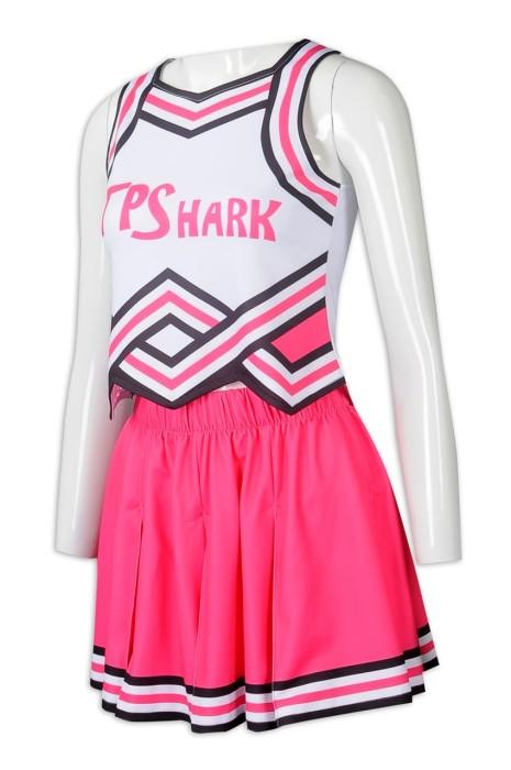CH206 訂製無袖啦啦隊套裝裙  設計印花LOGO  百褶裙啦啦隊套裝   撞色 啦啦隊服製衣廠  太古小學
