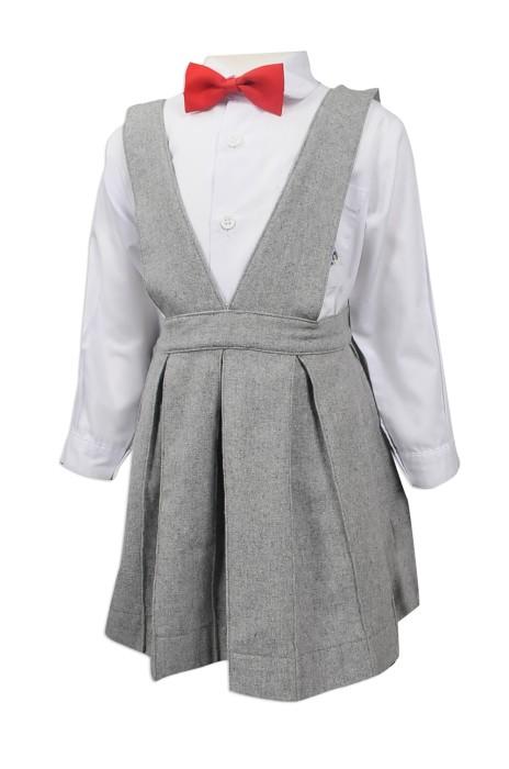 SU276 設計女款背帶小學校服  供應女童小學裙裝校服  吊帶連身裙 絨裙 大量訂造小學校服 校服製造商