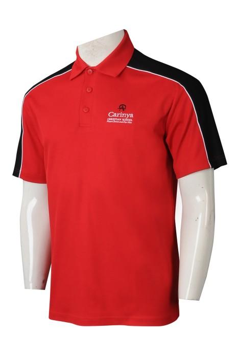 SU291 訂製拼接色短袖校服 設計POLO校服 校服供應商 紅色撞黑色