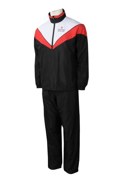SU299 訂製撞色反領校服運動套裝 設計LOGO校服運動套裝 校服運動套裝工廠
