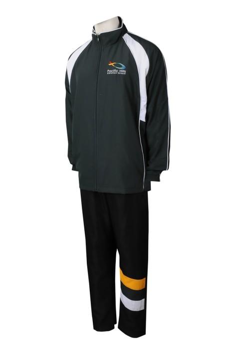 SU300 製造冬季男裝校服運動套裝 時尚校服運動套裝 校服運動套裝生產商 綠色撞黑色