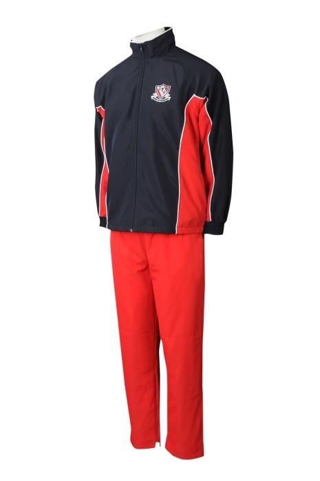 SU302 網上訂購校服運動套裝 製作拼色校服運動套裝 校服運動套裝製造商 紅色撞黑色