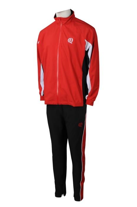 SU301  網上訂購冬季校服運動套裝 時尚設計紅色撞黑色校服運動套裝 校服運動套裝製服公司