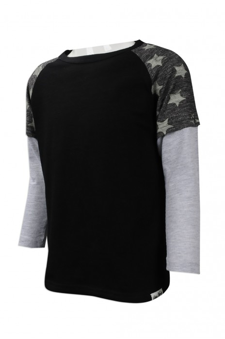 KD041 來樣訂做小童長袖T恤 網上下單小童星星印花長袖T恤 台灣 小童T恤供應商