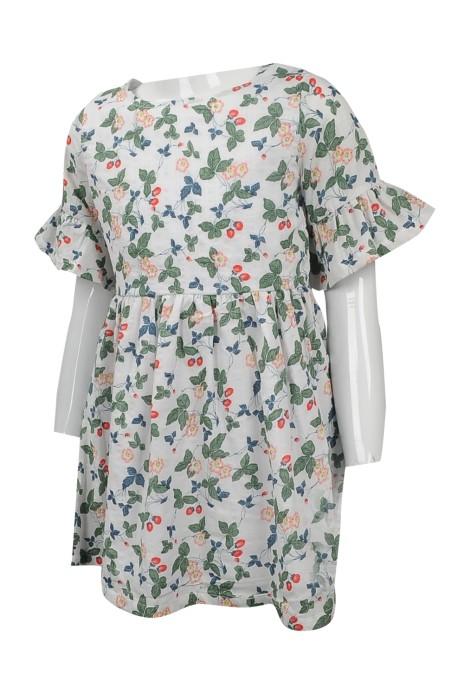 KD050 訂購兒童碎花連身裙  設計荷葉袖邊連身裙 台灣  碎花連身裙 網上下單女童裙裝  童裝製衣廠
