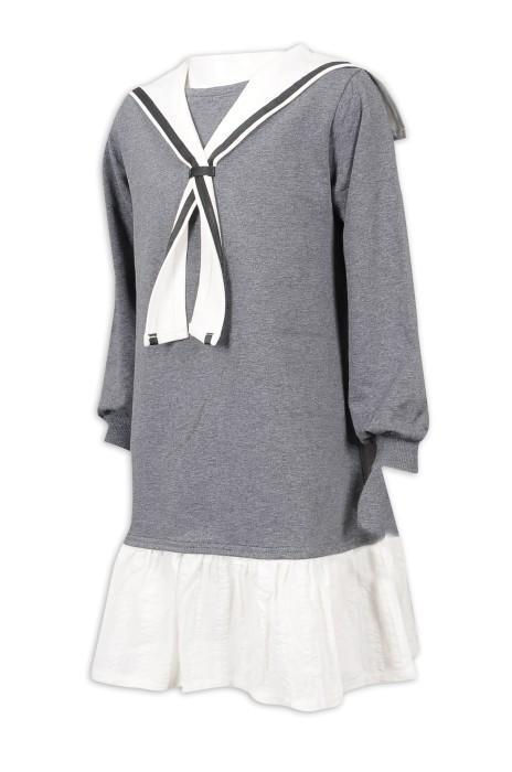 KD067 製作女童衛衣裙  校裙款 95%棉 5%氨綸 童裝製造商