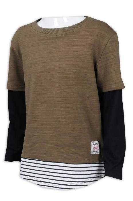 KD068 設計童裝撞色袖T恤 間條 95%棉 5%氨綸 童裝製衣廠