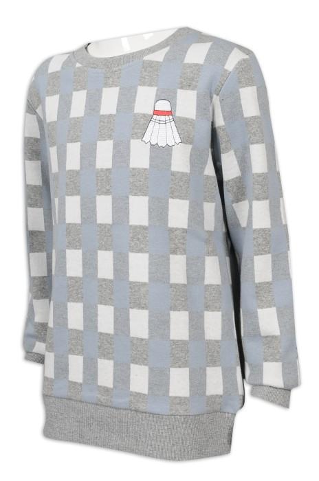 KD075 訂製童裝圓領衛衣 格子衛衣 79%棉 19.5%滌 1.5%氨綸 童裝生產商