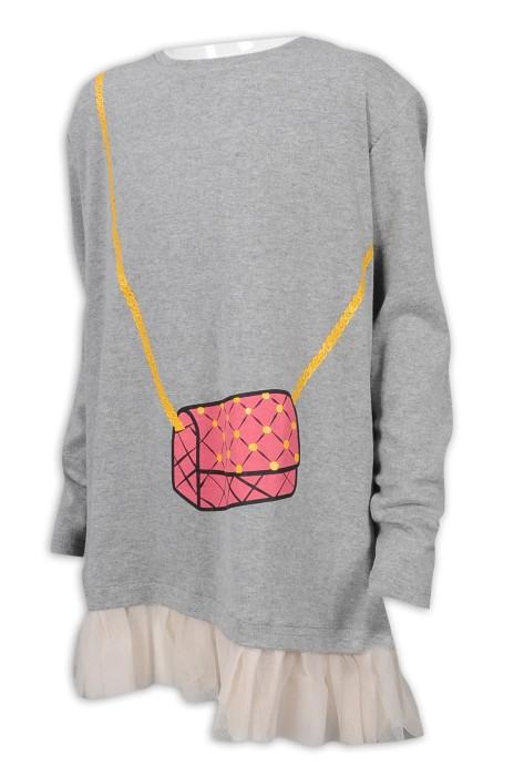 KD076 訂做童裝中長款T恤 蕾絲拼接下擺 33%棉 64%滌 3%氨綸 童裝供應商