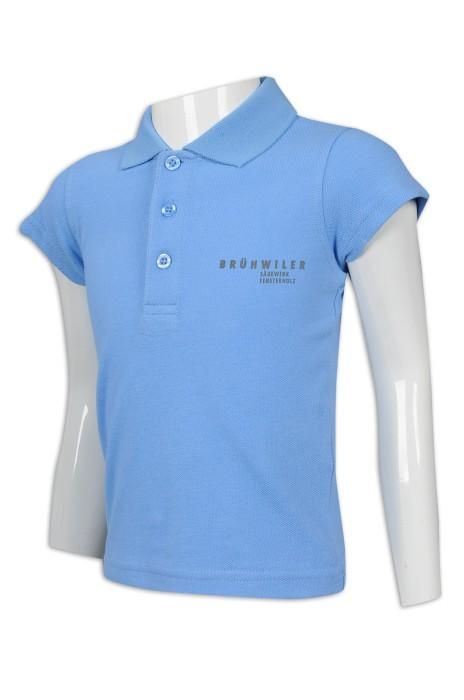 KD080 訂購女童Polo恤 童裝製衣廠 藍色