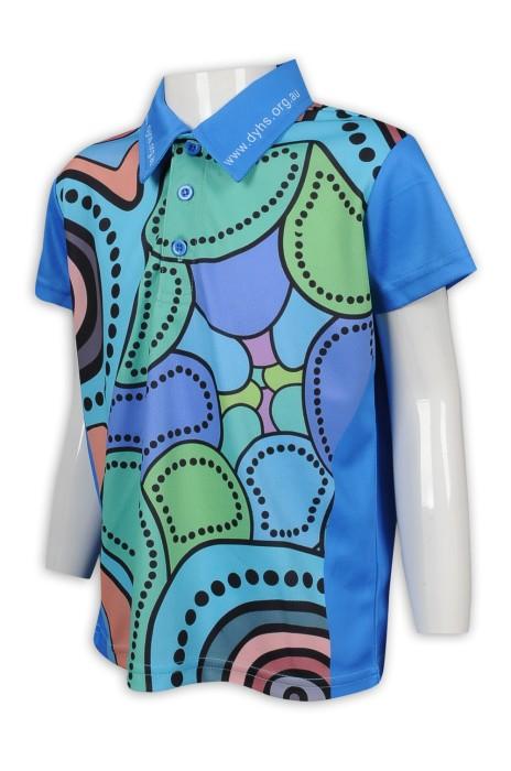 KD082 訂製全件印花Polo恤 童裝生產商 撞色 藍 綠 粉
