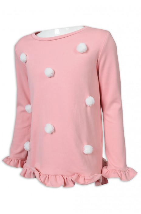 KD087 來樣定做童裝長袖 個性毛球 花瓣邊 花瓣袖口 花瓣衫腳 95%棉,5%氨綸 台灣 童裝生產商 粉色