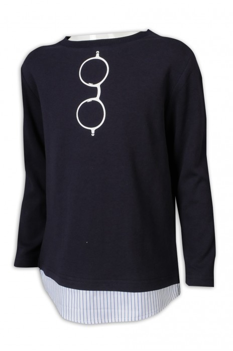 KD086 訂做長袖童裝 藍間條 假兩件套 衫底 100%棉 麻棉 台灣 童裝生產商 黑色