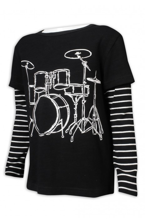 KD088 設計童裝長袖T恤 撞色條紋袖 假兩件 長袖 95%棉 5%氨綸 台灣 童裝製衣廠 黑色