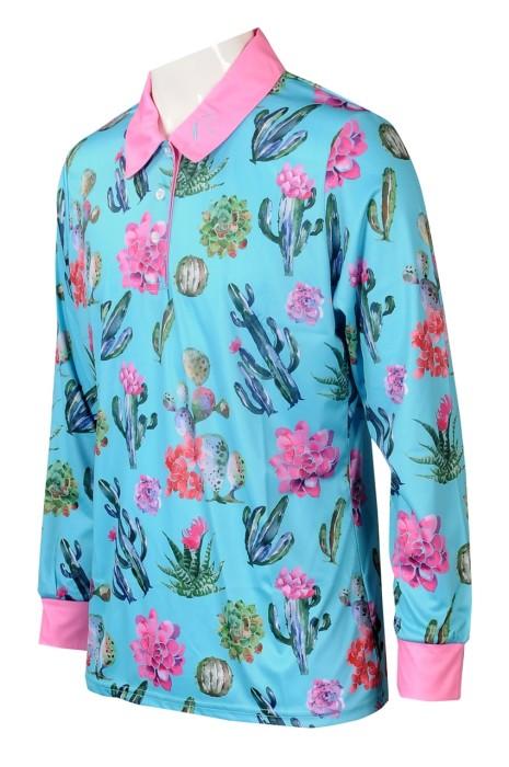 KD095 大量訂製長袖熱升華Polo恤 設計整件印花童裝熱升華 撞色反領 童裝熱升華供製衣廠  澳洲馬術學校